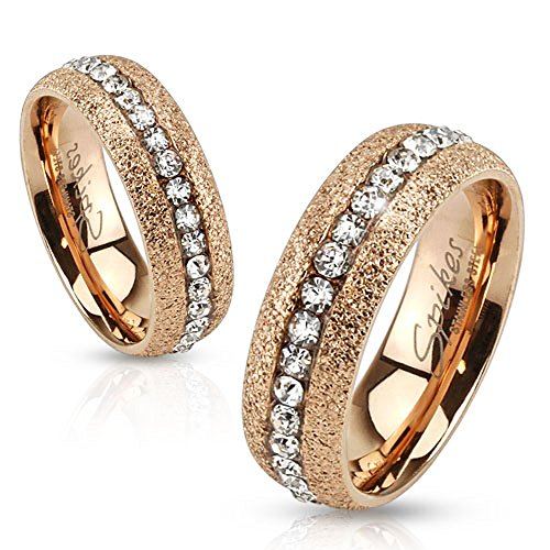 Jinique STR-0195 Glittery Rose Gold IP Over Stainless Steel Ring with Clear Color CZ Center; Sold as 1 Piece