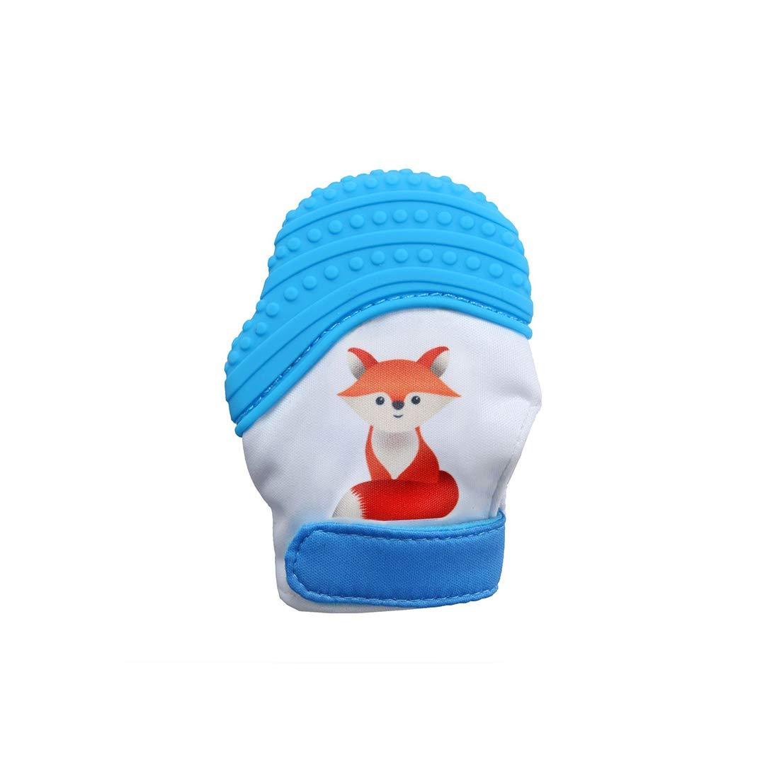 VIVOSUN Baby 1er Zahnen Handschuhe Schmerzlinderung Fä ustling BPA Frei Silikon Zä hne Beiß ring Zahnungshilfe fü r Neugeborenen Fuchs