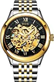 BOS Men's Automatic Mechanical Black Skeleton Dial Wrist Watch Gold Stainless Steel Band 9013