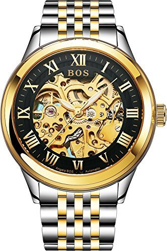 BOS Men's Automatic Mechanical Black Skeleton Dial Wrist Watch Gold Stainless Steel Band - Black Skeleton Dial Mechanical