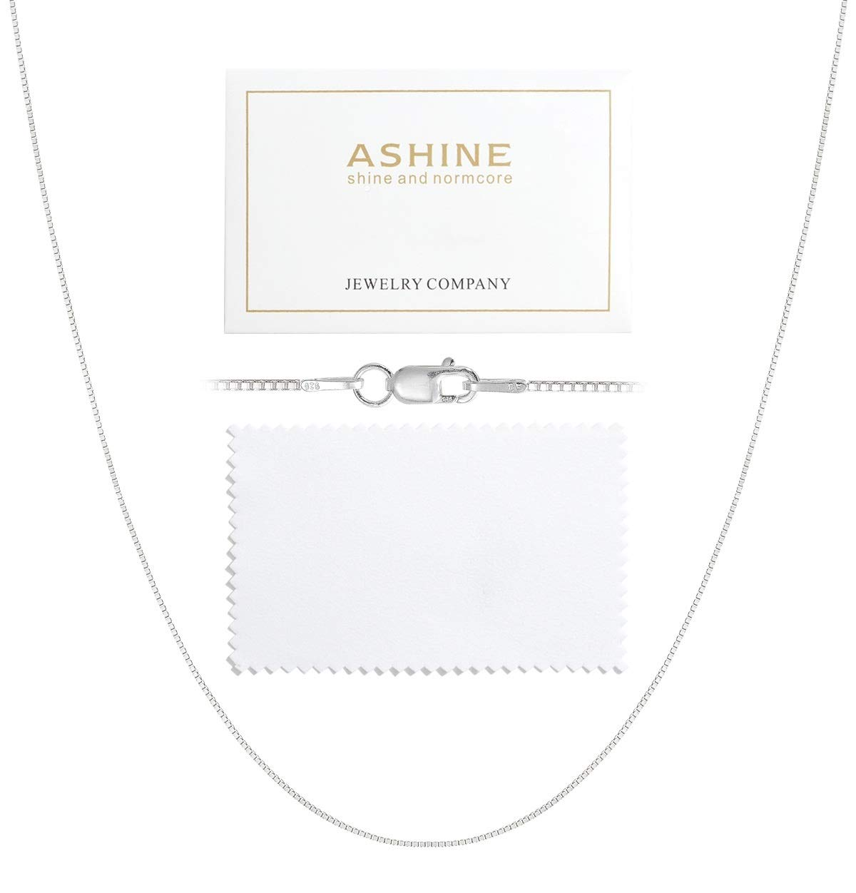 ASHINE 26 Inches 925 Sterling Silver 1mm Box Chain Necklace Solid Nickle-Free Necklace for Women Lobster Clasp Chain Italian Crafted Necklace with Silver Polishing Cloth