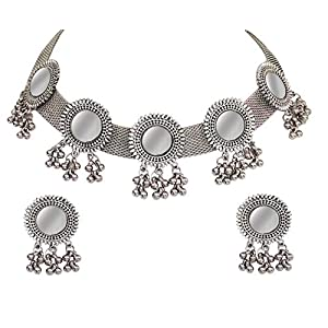 Total Fashion Afghani Oxidised German Silver Jewellery Antique Mirror Choker Necklace Set for Women & Girls