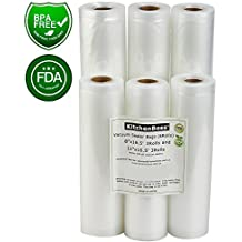 "Vacuum Sealer Rolls 6 Pack 8"" x16.5' and 11"" x16.5' Commercial Grade Bag Rolls for Food Saver and Sous Vide(total 100 feet) - KitchenBoss"