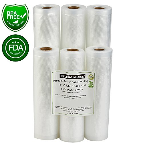 Vacuum Sealer Rolls 6 Pack 8″x16.5′ and 11″x16.5′ . KitchenBoss Commercial Grade Bag Rolls for Food Saver and Sous Vide, BPA Free and FDA Approval (Total 100 feet)