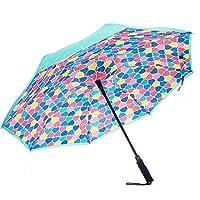 Revers-A-Brella Teal Hearts 31 inch Auto Open No Drip Inverted Straight Handle Umbrella