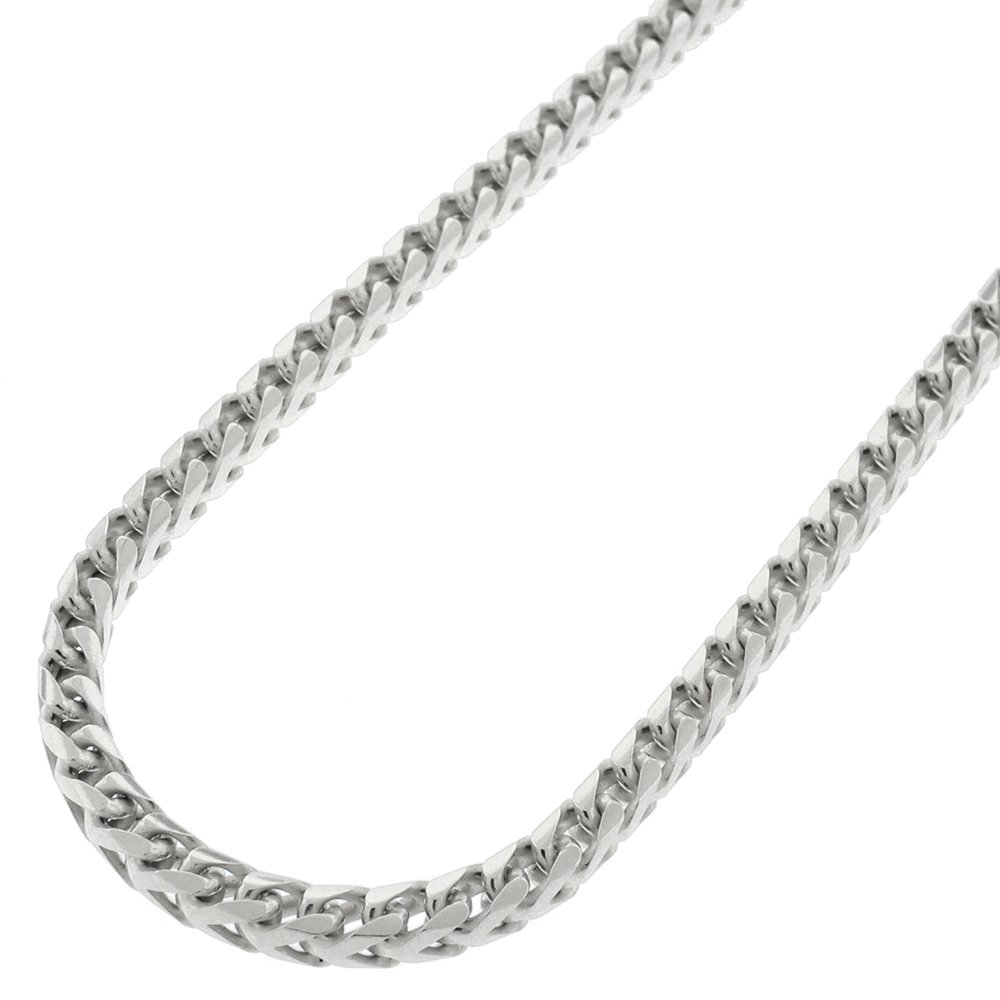 Sterling Silver Italian 3.5mm Solid Franco Square Box Link 925 Rhodium Necklace Chain 20'' - 30'' (30)