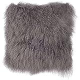 Decorative Pillow Cover - SLPR Mongolian Lamb Fur Throw Pillow Cover (16'' x 16'', Grey) | Real Fur Decorative Cushion Cover Pillow Case for Living Room Bedroom