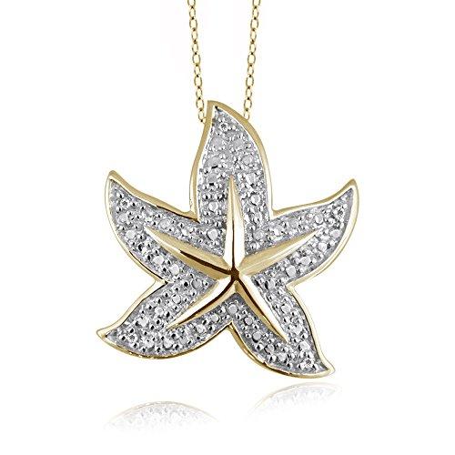 Jewelexcess 1/20 Carat T.W. White Diamond 14kt Gold Over Silver Starfish Pendant