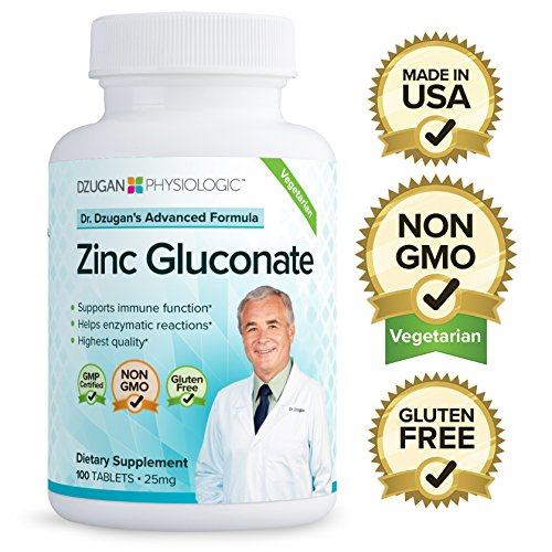 (Dr. Dzugan's ADVANCED Zinc Gluconate Formula :: Non-GMO, GMP Certified, Gluten Free, Vegetarian! :: 100 Tablets 25mg :: Immune Function)