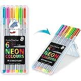 Triplus Fineliner Neon Coloring Pens in Case, 0.3mm, Metal Clad Tip, 6/PK, Assorted