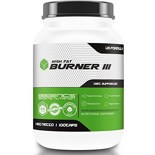 HighFat Burner III mit hochwertigem Aminosaeuren-Komplex und Meeresalgen für Diät und Gewichtsverlust, by BBGenics Sports Nutrition, Neutral, 146g Dose, 100 Tabl.