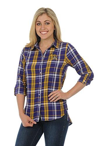 (UG Apparel NCAA East Carolina Pirates Women's Plus Size Boyfriend Plaid Shirt, Purple/Gold, 1X)