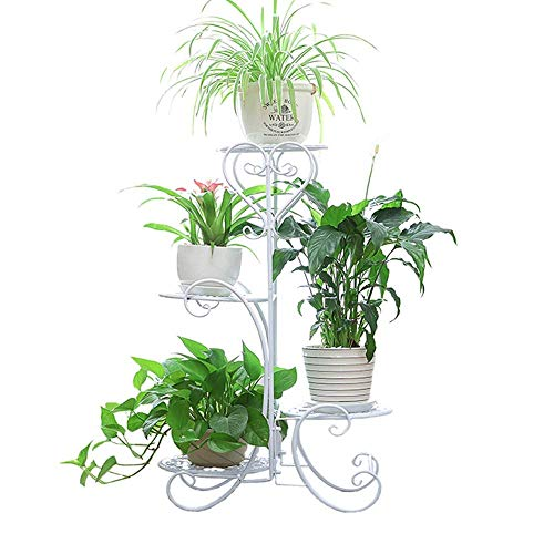 (Plant Stands Metal Garden Cart Flower Pot Holder with Wrought Iron 4 Tiers Display Rack (White))