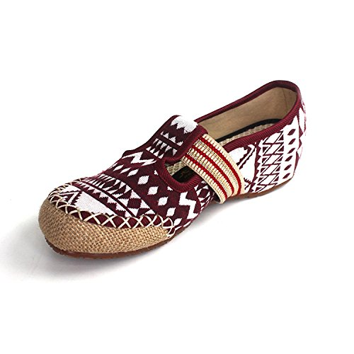 Treinta Rojo Nueve Thirty Natural Lino Zapatos SSBY Fondo Retro Y four Dichotomanthes 01YRqC