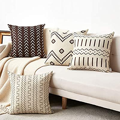 "WLNUI Set of 4 Pillow Covers,18x18 Pillow Covers Modern Throw Pillow Covers Brown Boho Geometric Mudcloth Cotton Linen Neutral Decorative Pillow Covers for Sofa Couch Chair - Home decor: this is classic ""Brown color Bohemian style"" theme decor pillow covers for sofa, office, car, patio, definitely refresh your home space. Perfect gift and decor to your friends & family. Easy to change: invisible zipper closure for an elegant look and easy to change & wash. Top quality fabric--Made of durable linen-cotton blended fabric, soft and comfortable, easy care, be softer after a wash. - living-room-soft-furnishings, living-room, decorative-pillows - 51c9Hkmo4SL. SS400  -"
