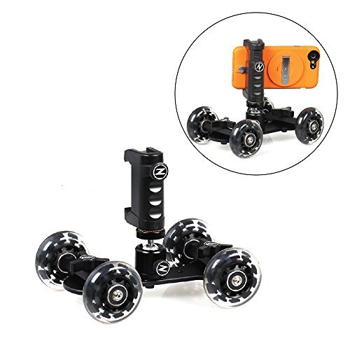 Ztylus Mini Dolly Pro Kit - 4 Wheel Rolling Slider Dolly Car / Z-Grip Smartphone Rig Mount / Universal Stabilizing Holder / Smooth Photo & Video Shots / iPhone, Samsung, Galaxy Photographer