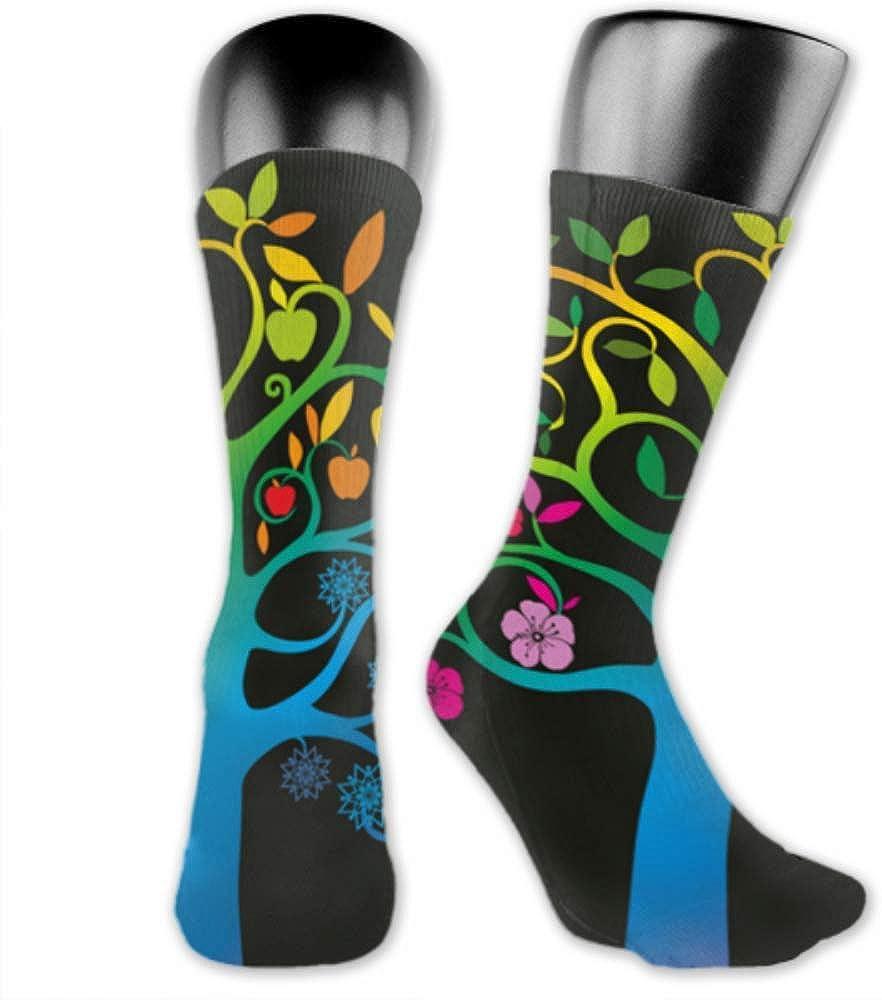 Leila Marcus calcetines para hombre y mujer son cómodos, ligeros y sudorosos, divertidos para hombre, diseño de árbol de cuatro estaciones, medianos y largos