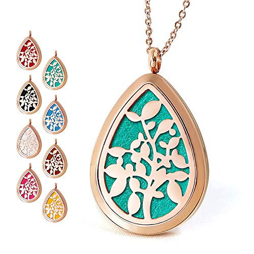(Rose Gold Aromatherapy Essential Oil Diffuser Necklace Stainless Steel Teardrop Locket)