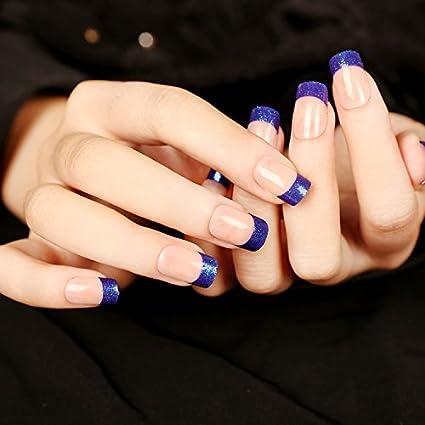 yunail 23 pcs 12 tamaños con purpurina francés uñas postizas corto ovalado morado azul verde Full