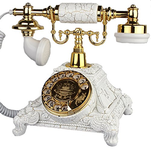 Antique Telephone Home Telephone Landline, Old Solid Wood Telephone Telephone Line, Two Colors Optional (Color : White)