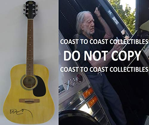 Willie Nelson Country music legend signed autographed Acoustic guitar, COA with the Proof Photo will be included. STAR