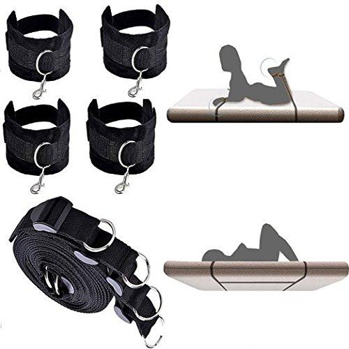 Pair black fur lined leather restraint cuffs