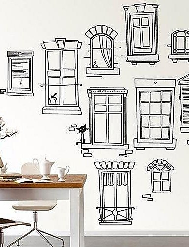HY Black Pencil Drawings Windows Kids Nursery Room Wall Sticker