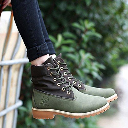 de Zapatos Mujer Minetom Verde De Cordones Martin Invierno Botas Botas Boots Botines de Nieve Otoño Calentar Zapatos Zapatos Trabajo awdrCqWZxw