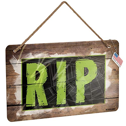 NEONBLOND Metal Sign RIP Halloween Creepy Green Spider Web Christmas Wood Print