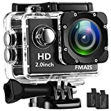 FMAIS Action Camera 2.0 Inch LCD Full HD 1080P Camcorder Underwater 30m/98ft Waterproof Sports Camera with 2 Rechargeable Batteries and Mounting Accessories Kit (Black)