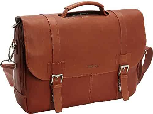 Kenneth Cole Reaction Colombian Leather Dual Compartment Flapover 15.6
