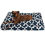 1 Piece Navy Blue Trellis Pattern Dog Bed (Large), Elegant Geometric Print Pet Bedding For Puppies, Features Removable Cover, Water & Stain Resistant, Rectangle Shape, Polyester