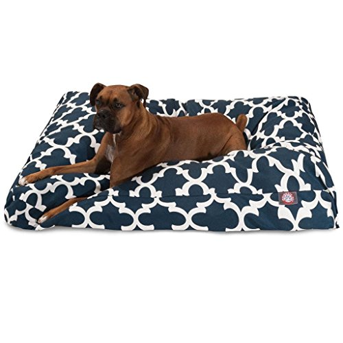 1 Piece Navy Blue Trellis Pattern Dog Bed (Large), Elegant Geometric Print Pet Bedding For Puppies, Features Removable Cover, Water & Stain Resistant, Rectangle Shape, Polyester by Unknown