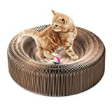 Cat - Collapsible Cat Scratcher Lounge Post with Ball Toy Bell & Catnip - High Density Recycled Corrugated Kitty Scratching Pad Cats Turbo Toys