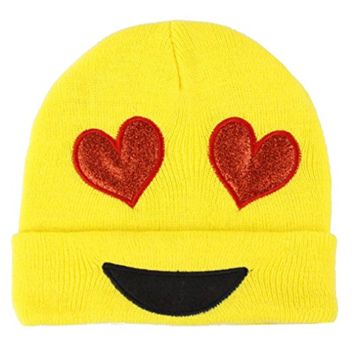 Emoji Beanie Knit Cap Hat - One Size Fits Most - Heart Eyes - Love