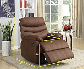 NHI Express 72007-91CH Samantha Microfiber Recliner, Chocolate Color,