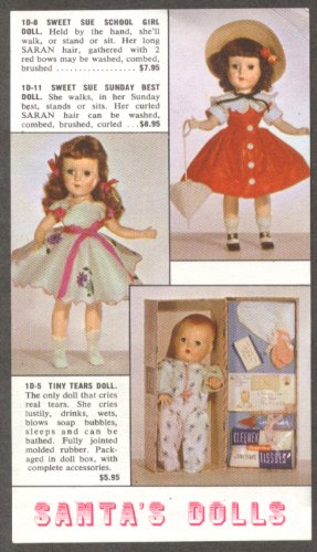 Sweet Sue Tiny Tears doll mailorder Santa's Workshop NY NOT ACTUAL DOLLS