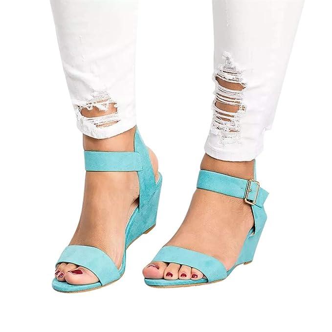 Sandalias Mujer Verano 2019 Plataforma YiYLunneo Tacón De Cuñas De Moda SóLida Zapato Correa Hebilla Zapatos Romanos Sandalias Casual Chanclas: Amazon.es: ...