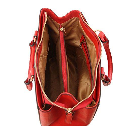 Tuscany Leather TL Bag Bolso a mano en piel Saffiano Marrón topo oscuro Bolsos con asas Rojo