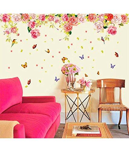 e3082e132 Buy Decals Design  Rose Flowers Romantic Valentine  s Vintage Peony  Wall  Sticker (PVC Vinyl