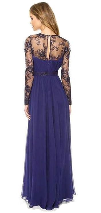 Aimerfeel vestido de encaje de color azul oscuro de manga larga vestido de fiesta por la noche a pie, tamaño 38-40: Amazon.es: Ropa y accesorios