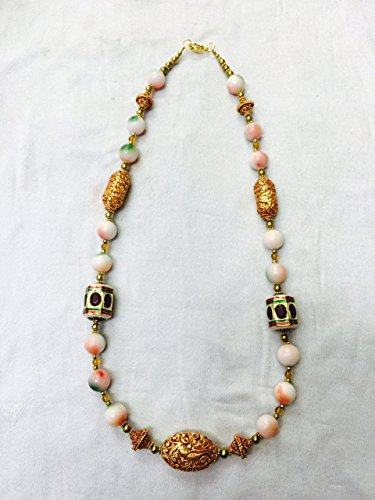 Afghan Gold Plated Beads with Howlite Necklace Ethnic Regional Tribal Vintage Gypsy Hippie