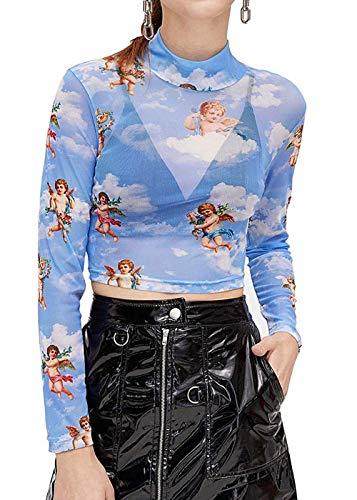Women's Long Sleeve Mesh Sheer T-Shirt Mock Neck Angel Print Sexy See Through Crop Tops (Light Blue, M)