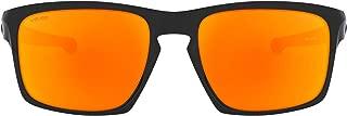 product image for Oakley Men's OO9262 Sliver Rectangular Sunglasses, Polished Black (/46)/Fire Iridium, 57 mm