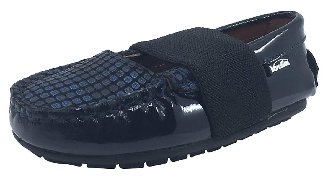 Venettini Step-in Shoes Girl's and Boy's Leather Loafers (Navy Navy Patent/Cobalt/Mongo, 31 M EU/13.5 M US Little Kid)