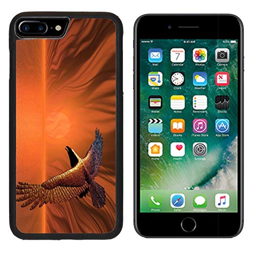 MSD Apple iPhone 8 Plus Case Aluminum Backplate Bumper Snap Case Image ID: 277101 Surreal Flaming Eagle in a Surreal Sunset