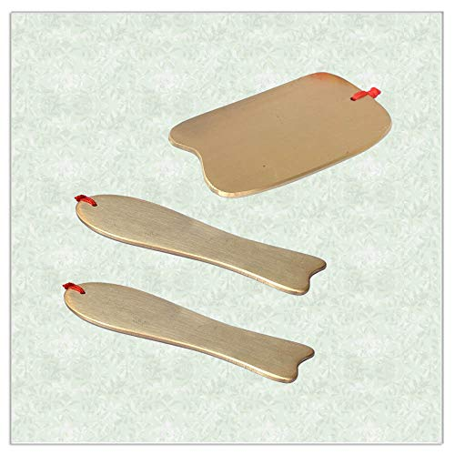- Traditional Copper Acupuncture Massage Tool Guasha SPA Kit Scraping V Line Face Plate Care set 4