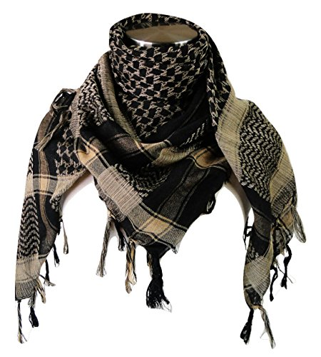 Premium Shemagh Head Neck Scarf - Black/Camel by Tapp Collections