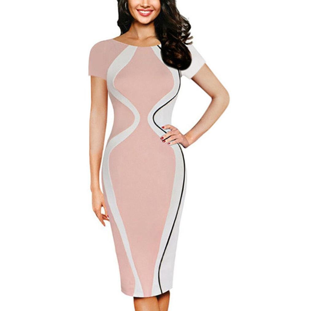 Women Dress Daoroka Sexy Plus Size Wear Work Office Pencil Half Sleeve Business Skirt With Pocket Bodycon Sheath Party Dress (3XL, Pink)