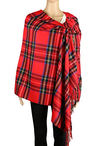 Achillea Long & Wide Scottish Tartan Plaid Large Cashmere Feel Blanket Scarf Check Shawl Wrap 80